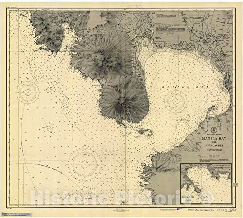 Historic Pictoric Vintage Map - Manila Bay and Approaches, 1948 Nautical NOAA Chart - (PH) - Vintage Wall Art - 44in x 36in