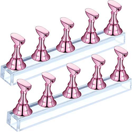 2 Sets de Soporte de Práctica de Punta de Uñas Soporte de Exhibición de Uñas de Acrílico Soporte de Práctica de Uñas Magnético Soporte de Arte de Uñas de Bricolaje para Uso de Salón (Rosa)