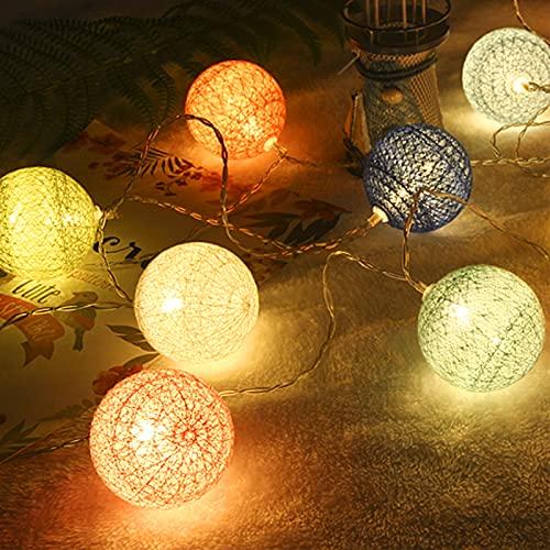 SVNTEAK Lichterkette Cotton Ball,5m 20er LED Kugel Light,Lichterkette für Innen,mit Timer und 8 modi Fernbedienung,für Terrasse,Schlafzimmer, Weihnachten,Hochzeit, Party
