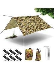 XianJu Lona para tienda de campaña, 3 x 3 m, resistente al agua, protección solar, para exteriores, con 6 cuerdas para camping, viajes, picnic.