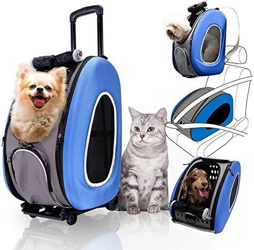 Cacoffay 4 in 1 Haustier Kinderwagen Hund Träger Rucksäcke Schulter Wagen Tasche Multifunktion Baby Kinderwagen zum Hunde und Katzen,Blau