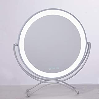 Lighted LED Makeup Mirror Large, Tabletop Round Vanity Mirror with 3-Levels of Brightness Dressing Mirror, Touch Control S...