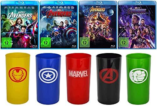 Avengers 1-4 (1+2+3+4) Komplett / Teil 1 + Age of Ultron + Infinity War + Endgame [Blu-ray Set] + 5 Trinkgläser (Iron Man,Captain America,Marvel,Avengers,Hulk)