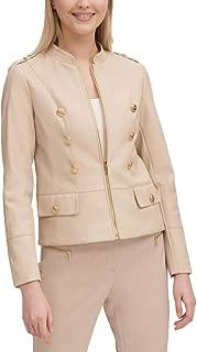 Calvin Klein Women's Fall Faux Leather Military Jacket, Medium, Tan