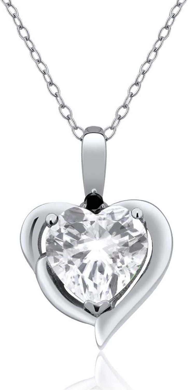 2.02 Ct Heart Shape White Topaz & Black Diamond 925 Sterling Silver Pendant 18