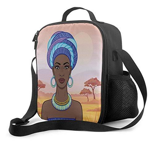 Bolsa Térmica Comida Bolsas de Almuerzo caja porta con Aislamiento Bolso de Mano Mujer africana, en, un, turbante Impermeable Fiambrera Isotermica Aislado Térmico Organizador del Almuerzo