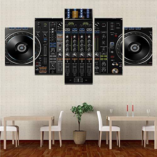 Zxdcd Wandkunstleinwandbilder Home Decor5 Stücke Musik Dj Konsole Instrument Mixer Gemälde Drucke Nachtclub Bar Poster-20X35Cmx2 20X45Cmx2 20X55Cm