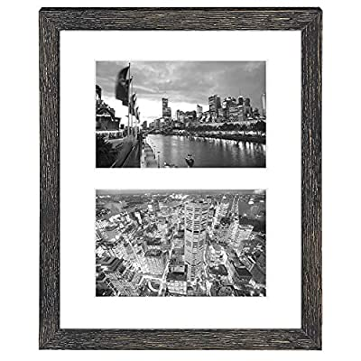Golden State Art, 8x10 Distressed Black Collage Picture Frame - White Mat for (2) 4x6 Pictures - Wood Molding - Easel Stand for Tabletop - D-Rings for Wall Display - Great for Homes, Offices, Events