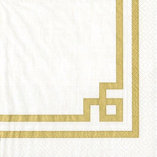 Caspari - Tovaglioli di carta Rive Gauche, colore: oro/bianco
