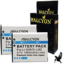 Two Halcyon 1500 mAH Lithium Ion Replacement Batteries for Pentax WG-20 Waterproof Digital Camera and Pentax D-LI92