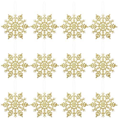 OULII Fiocchi di Neve per Natale Fiocchi di Neve per Decorazione Albero di Natale da Appendere di 10 cm 12PCS (Oro)