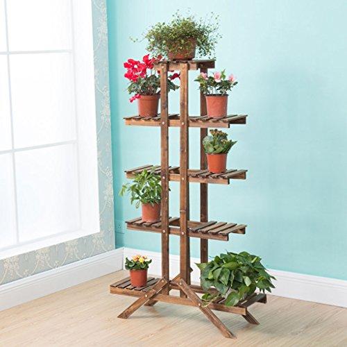 LCHY TtYj-Multifuncional soporte de flores de madera maciza Bastidores de flores carbonizados Conservante Planta Bonsái Marco de madera Macetas Balcón Multi - Planta Soporte de flores