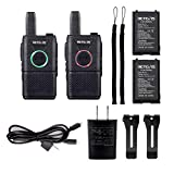 Retevis RT18 Walkie Talkies Rechargeable 16 Channel Dual PTT VOX Super Thin Small 2 Way Radios (2 Pack)