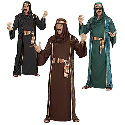 Widmann 3141A - Erwachsenenkostüm Arabischer Scheich - Tunika, ärmelloser Mantel, Gürtel und Turban, Größe XL, Mehrfarbig