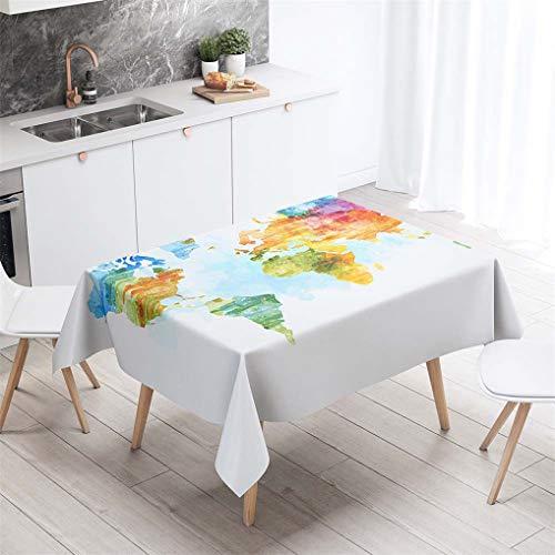 HNHDDZ Vintage Tischdecke Rechteck Karte Kontinentaler Ozean Globus Wasserdicht Abwaschbar Garten Balkon Außen Fleckabweisend Camping Küche Couchtisch Für Gartentisch Hochzeit Outdoor (B,140x140 cm)