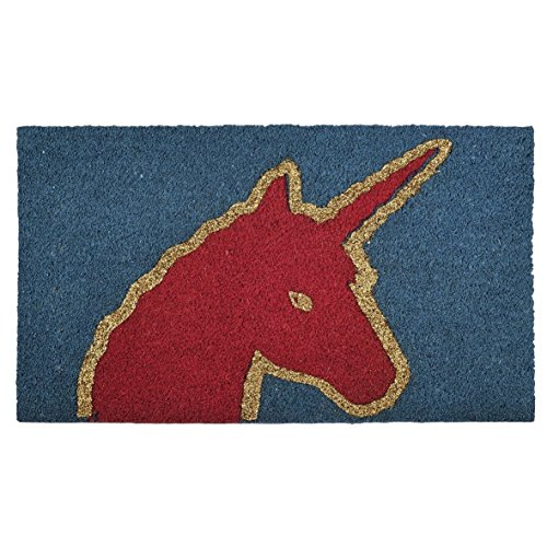 Pad Pop Art Fußmatte 647532 uni | Unicorn Einhorn blau pink | aus Kokos 45 x 75 cm