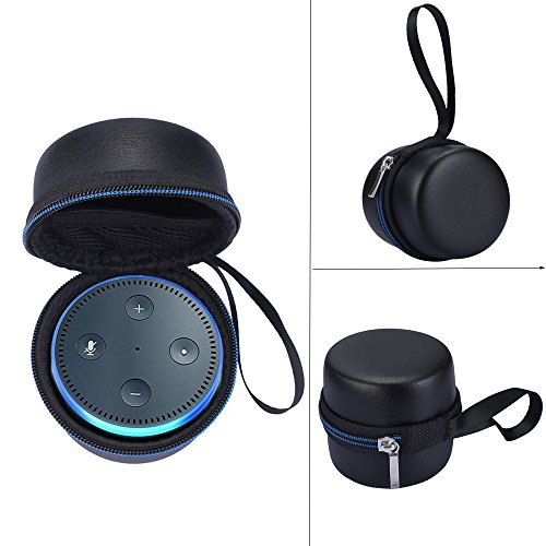 For Echo Dot / All-New Echo Dot 2 (2nd Generation) Portable Hard Carrying Case Travel Bag Protective Pouch Box -Extra Room for USB Cable and Wall Charger (Black+Blue)