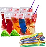 Reusable Drink Pouches - (402 Piece Set) 200 Clear Drink Bags + 200 Straws - 16 oz BPA Free - Double Zipper Reusable Smoothie Juice, Clear Zipper Pouch Storage with No Leaks, Environmentally Friendly