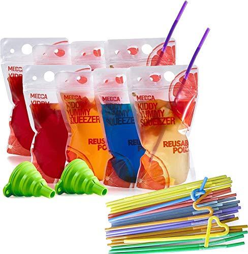 Bolsas de Bebida Reutilizables - (Juego de 402 Piezas) 200 Bolsas de Bebida Transparentes + 200 pajitas