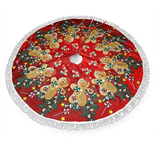 MSGUIDE Gingerbread Christmas Sweets Christmas Tree Skirt Ornaments Xmas New Year Holiday Party Decorations Indoor Outdoor 48 inch Large Tree Mat