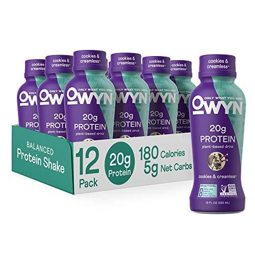 OWYN - 100% Vegan Plant-Based Protein Shakes | Cookies N Cream, 12 Fl Oz (Pack of 12) | Dairy-Free, Gluten-Free, Soy-Free, Tree Nut-Free, Egg-Free, Allergy-Free, Vegetarian