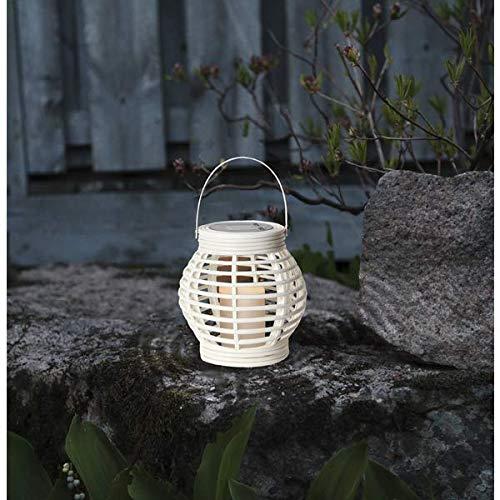 Kamaca LED SOLAR Laterne in Rattan OPTK mit Solar Panel und integrierter LED Leuchte Solarleuchte mit warmweisser LED Kerze flackernd Outdoor (Weiss)