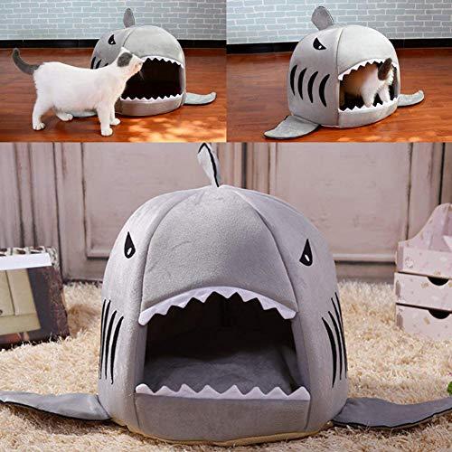 Lai-LYQ Herfst Winter Haai Vorm Huisdier Hond Kat Puppy Bed Warm Kussen Zachte Kennel Nest - Blauw L, BlueXS, BlueXS