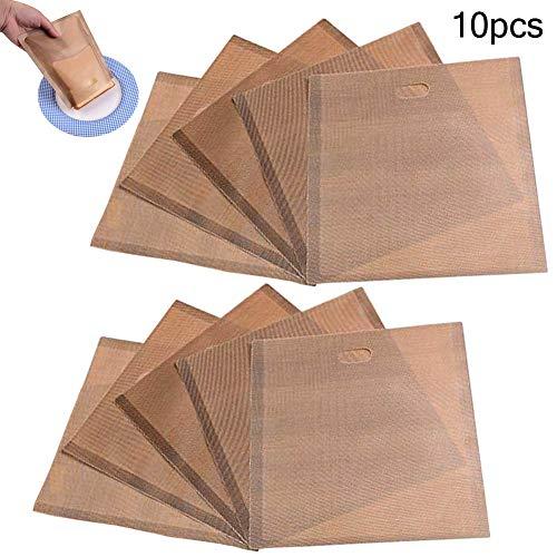 INTVN 10 Stück Toast Taschen Sandwich Käse Tasche wiederverwendbar glutenfrei,Grill backpapier Toaster Bag,Antihaft Toast Bag für Mikrowelle