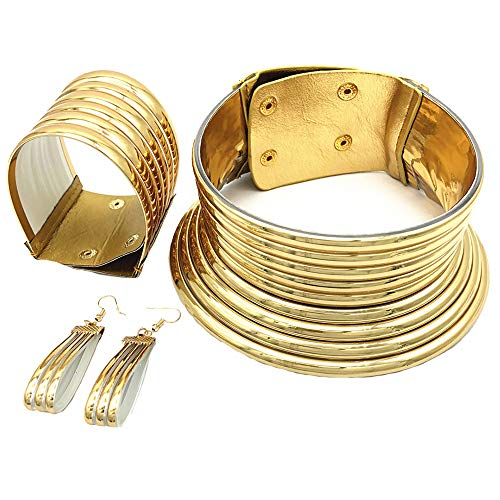 La joyería Africana Accesorios Africa Nacional Snap Gargantilla Collares Estilo Creativo plástico Oro para Las Mujeres