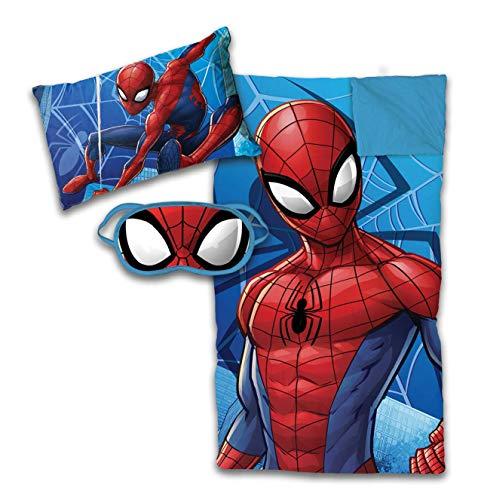 Jay Franco Marvel Spiderman 3 Piece Sleepover Set - Cozy & Warm Kids Slumber Bag with Pillow & Eye Mask (Official Marvel Product)
