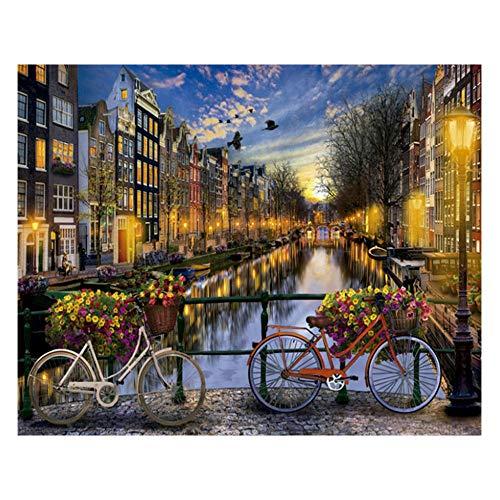 iCoCofly Kit de pintura de diamante 5D, kit de pintura de punto de cruz de diamante, artesanía para decoración de pared del hogar, bicicleta de ciudad, 30 x 40 cm