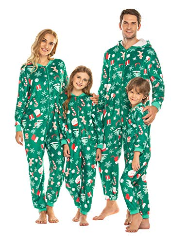 Bricnat  Familie Schlafoverall Jumpsuit Einteiler Schlafanzug Warm Weihnachtspyjama Fun-Nachtwäsche mit Reißverschluss Freizeitanzug, B-weihnachten Stil 2: Herren, EU XS (Herstellergröße: S)