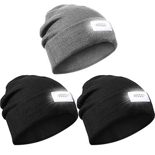 3 Gorros de Punto con Linterna de 5 LED Sombrero de Faro Cálido de Invierno, Unisexo (Negro, Gris) 🔥