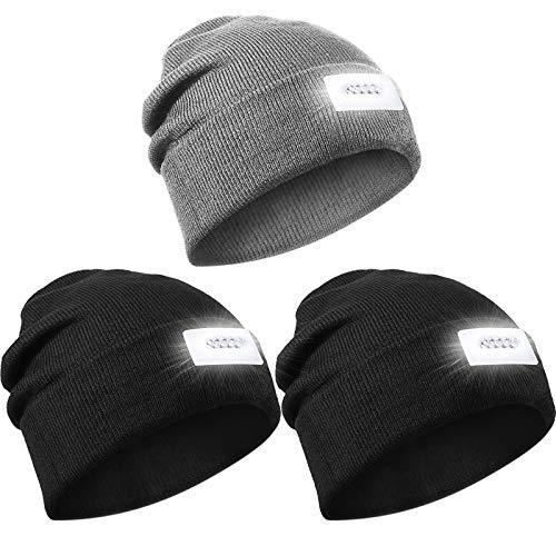 3 Gorros de Punto con Linterna de 5 LED Sombrero de Faro Cálido de Invierno, Unisexo (Negro, Gris)
