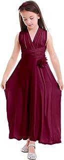 IWEMEK Girls Kids Flowy Convertible Multi Way Evening Dress Short Wedding Pageant Prom Praise Ballet Dance Long Party Gown
