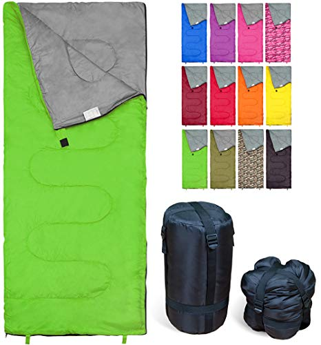 Lightweight Green Sleeping Bag by RevalCamp. Indoor & Outdoor use. Great for Kids, Teens & Adults. Ultra Light and Compact Bags are Perfect for Hiking, Backpacking, Camping & Travel.