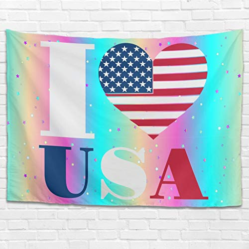 Dofeely American Flag Wandtuch Berg Wandbehang American Flag,Happy 4th of July,I Love USA Clip Art Bed Sheet, Landschaft Tapisserie Dekoration für Wand Schlafzimmer Wohnzimmer White 230x150cm