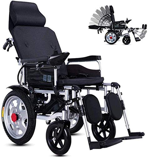 PIAOLING Mobility Aid Wheel Chair, Lightweight Folding Electric Wheelchair for Elderly, Fully Lying Adjustable (90°-180°) Wheelchair Aluminum Alloy 4-Wheeled Scooter Lithium Battery-20A_Black