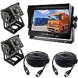 2×8LEDs Ángulo de Visión de 120 ° de Ancho IR Night Vison Cámara de Estacionamiento a Prueba de agua con 15M cable + 12V-24V 7 'TFT LCD HD Monitor de coche para Autobús /Camión /Remolque/ RV