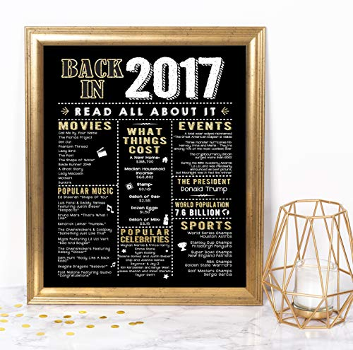 Katie Doodle 3rd Birthday Party Supplies Decorations Anniversary Presents Gifts for Him Her or 3 Year Old Girls Boy - Includes 8x10 Back in 2017 Sign [Unframed], Black and Gold
