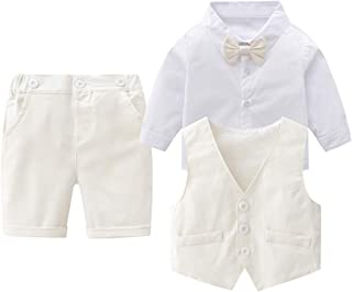 Baby Boys Gentleman Outfits Suits, Infant Long Sleeve Shirt+Cropped Pants+Bow Tie +Vest Clothes Set
