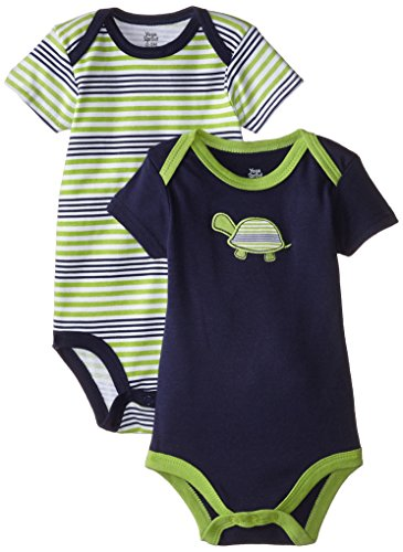 Yoga Sprout unisex baby Cotton Bodysuits Bodysuit, Turtle 2pk Short Sleeve, 9-12 Months US