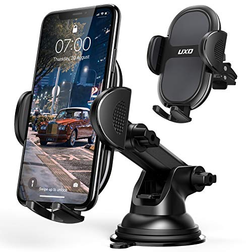 Car Phone Holders, UXD Car Phone Mount, Patented Phone Holders for Car Dashboard/Windshield/Air Vent, Compatible iPhone 11 Pro Max Xs XR X 8, Galaxy S20+ S20 Note 10 9 Plus, Dark Gray