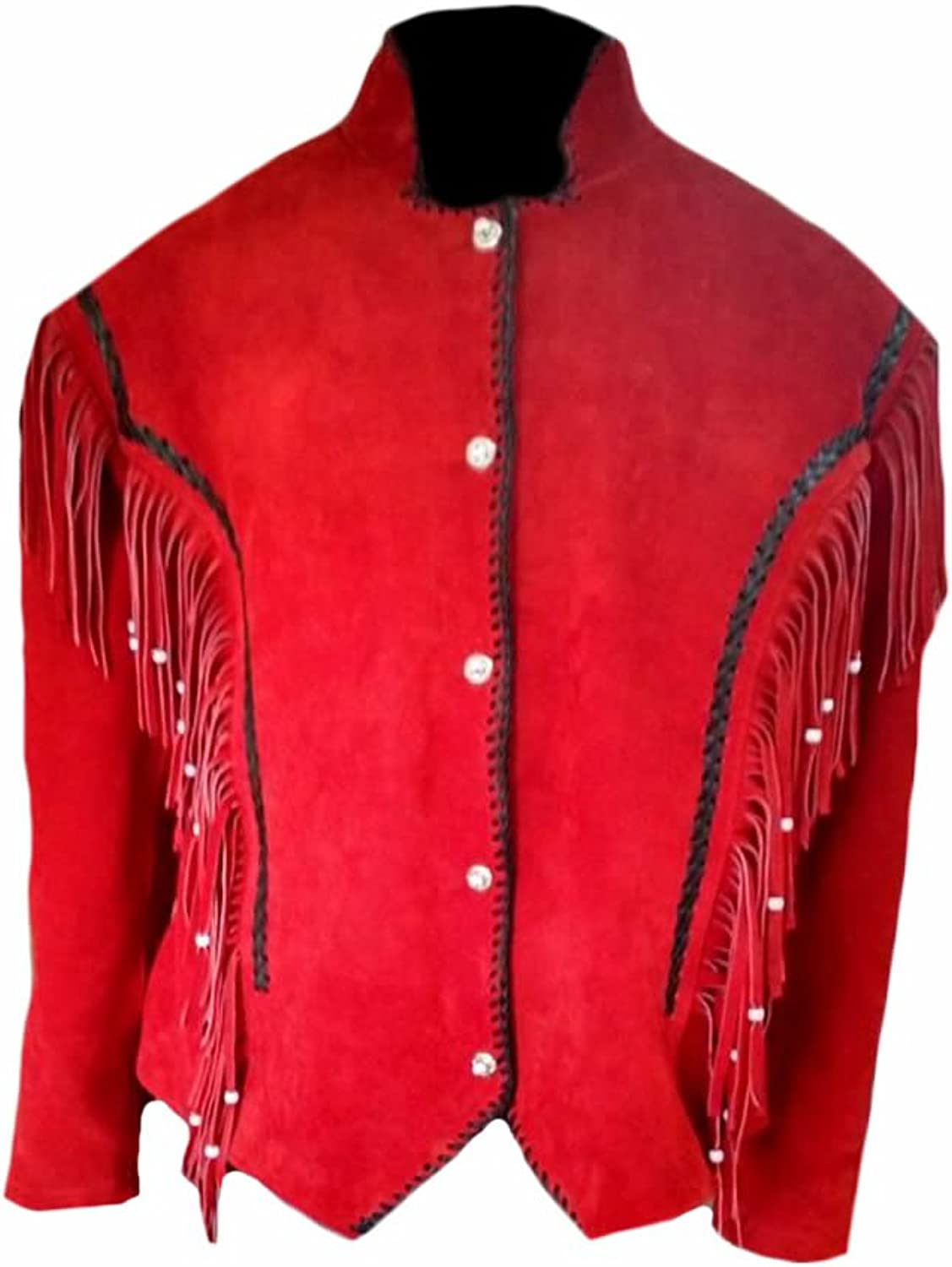 Classyak Women's Western Suede Leather Red Jacket
