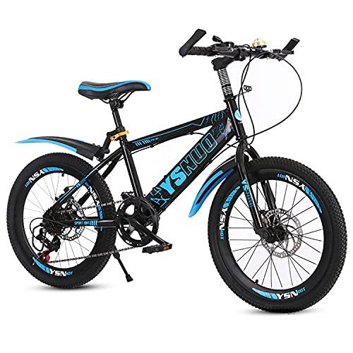 Mountainbike Fahrrad 20 Zoll jung & mädchen kohlenstoffstahlrahmen mit doppelscheibenbremsen vorne und hinten Kinder BMX mit Einer höhe von 120-145 cm (Blau,20 Zoll)