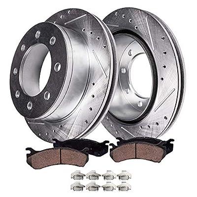Detroit Axle - Pair (2) Rear Drilled and Slotted Disc Brake Kit Rotors w/Ceramic Pads w/Hardware for 2006 2007 2008 Dodge Ram 1500 Mega Cab - [2003-2008 Ram 2500/ Ram 3500]
