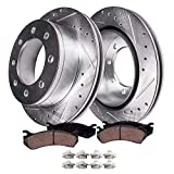 Detroit Axle - 4WD Models FRONT Drilled Slotted Rotors & Brake Pads Replacement for...