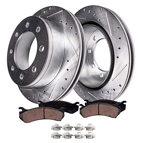 Detroit Axle - 331mm 8-Lug Drilled & Slotted FRONT Brake Kit Rotor Set & Brake Kit Pads w/Clips Hardware Kit for 1999-2004 Ford Excursion 4WD - [2000-2004 F-250 F-350 Super Duty 4WD] - See Fitment