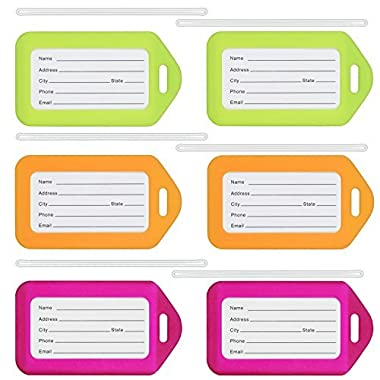 MIFFLIN Bright Luggage Tag Set (6-Pack, Neon), Plastic Suitcase Baggage Tags Luggage Tag Holders