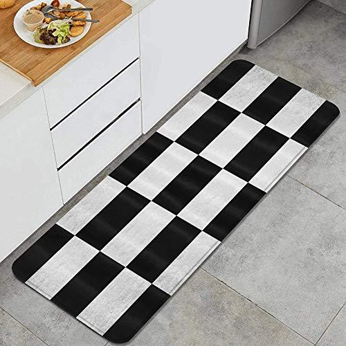 ZORMIEY Tapis Cuisine Antidérapant Tapis,Damier Blanc Noir,Lavable en Machine Tapis de Bain Paillasson Tapis de Sol Cuisine 45x120cm